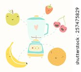 blender and funny fruits | Shutterstock .eps vector #257475829