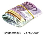 Pile Of Euro Banknotes Isolate...