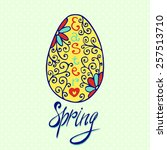 easter egg greeting card with... | Shutterstock .eps vector #257513710