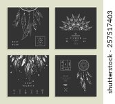 set of four cards with dream... | Shutterstock .eps vector #257517403