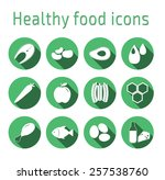 healthy food icons. healthy... | Shutterstock .eps vector #257538760