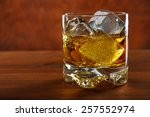 whiskey on the rocks on wooden...   Shutterstock . vector #257552974