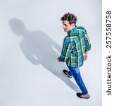 top view portrait of a young... | Shutterstock . vector #257558758
