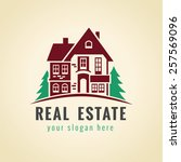 Stock vector real estate vector logo house for sale sign sign for estate agency building lease house 257569096