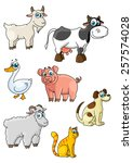 funny cartoon farm animals and... | Shutterstock .eps vector #257574028