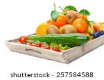 fruits and vegetables on wooden ... | Shutterstock . vector #257584588