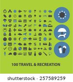 100 travel  recreation  tourism ... | Shutterstock .eps vector #257589259