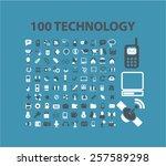 100 technology  communication ... | Shutterstock .eps vector #257589298