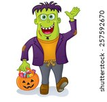 monster trick or treating with... | Shutterstock .eps vector #257592670