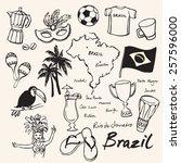 brazil icons doodle set  | Shutterstock .eps vector #257596000