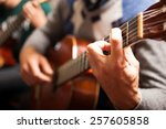 detail of a classical guitar... | Shutterstock . vector #257605858