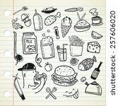 food and beverage doodle | Shutterstock . vector #257606020