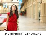young adorable woman in red... | Shutterstock . vector #257606248