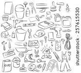 vector doodle set of house... | Shutterstock .eps vector #257615530