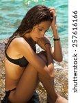 beautiful summer mode on the... | Shutterstock . vector #257616166