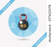 kettlebells flat icon with long ... | Shutterstock .eps vector #257622478