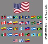 american  waving vector flag... | Shutterstock .eps vector #257623138