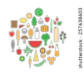 healthy food icons set. vector... | Shutterstock .eps vector #257638603