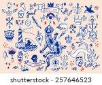 big vector set of hand drawn... | Shutterstock .eps vector #257646523