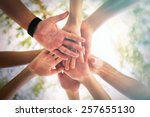 hands of young people close up... | Shutterstock . vector #257655130