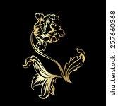 flower tulip. gold outline on... | Shutterstock .eps vector #257660368