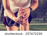 jogging injury. warp up before... | Shutterstock . vector #257672230
