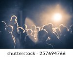 crowd at a concert in a vintage ... | Shutterstock . vector #257694766