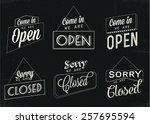 open and closed signs  | Shutterstock .eps vector #257695594
