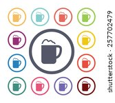 cappuccino flat icons set. open ... | Shutterstock .eps vector #257702479