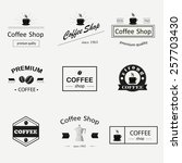 retro coffee logotypes set.... | Shutterstock .eps vector #257703430