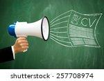 advertising cv document through ... | Shutterstock . vector #257708974