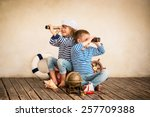 children playing with vintage... | Shutterstock . vector #257709388