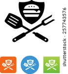 hamburger on shield with... | Shutterstock .eps vector #257743576