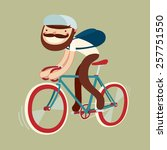 stylish character on bike.... | Shutterstock .eps vector #257751550