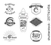 collection of vintage surfing... | Shutterstock .eps vector #257761456