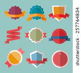 vector vintage flat badges and... | Shutterstock .eps vector #257764834