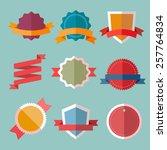 vector vintage flat badges and... | Shutterstock .eps vector #257764834