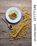 spaghetti on a plate with... | Shutterstock . vector #257777188