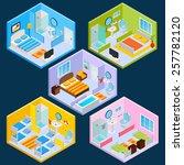 isometric hotel interior set... | Shutterstock .eps vector #257782120