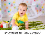 kid boy toddler playing with... | Shutterstock . vector #257789500