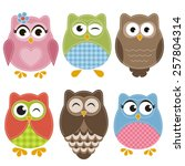 colorful owls set | Shutterstock .eps vector #257804314