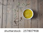cheese soup with spices on... | Shutterstock . vector #257807908
