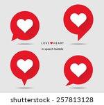 love heart in speech bubble... | Shutterstock .eps vector #257813128