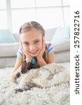 portrait of happy girl with... | Shutterstock . vector #257822716