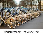 Row Of City Bikes For Rent In...
