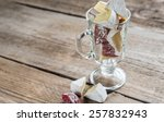 slices of camembert and salami... | Shutterstock . vector #257832943