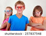 group of cute funny  kids with... | Shutterstock . vector #257837548
