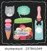 champagne and macaroon... | Shutterstock .eps vector #257841049