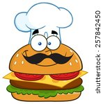 smiling chef hamburger cartoon... | Shutterstock .eps vector #257842450