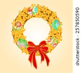 easter wreath with forsythia...   Shutterstock .eps vector #257850590